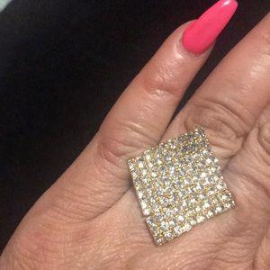 Goldtone bling rhinestone flat diamond shape ring